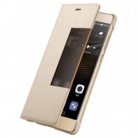 Etui fenêtre à rabat Huawei P9 or