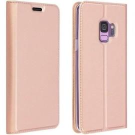 Etui pochette porte cartes pour Samsung S9 rose or