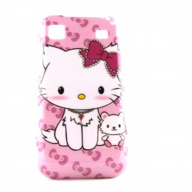 Coque rose pour Samsung I9000 Galaxy S motif chat assis + film protection ecran offert