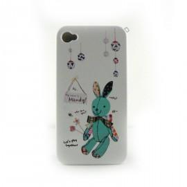 Coque blanche lapin bleu pour Iphone 4 + film protection ecran