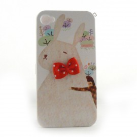 Coque integrale lapin noeud papillon rouge pour Iphone 4 + film protection ecran