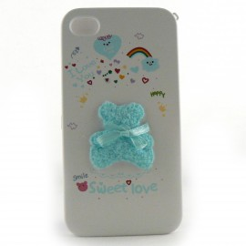 Coque integrale ourson bleu pour Iphone 4 + film protection ecran
