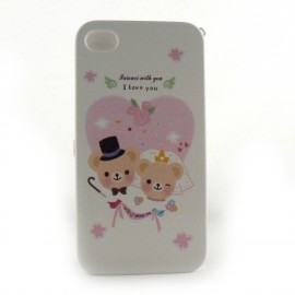 Coque integrale 2 oursons coeur rose pour Iphone 4 + film protection ecran