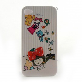 Coque integrale rayee rose et reve Noel fille pour Iphone 4 + film protection ecran