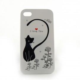 Coque blanche chat noir et un coeur rouge pour Iphone 4 + film protection ecran