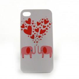 Coque blanche motif elephants et un coeur rouge pour Iphone 4 + film protection ecran