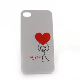 Coque avec un coeur rouge pour Iphone 4 + film protection ecran