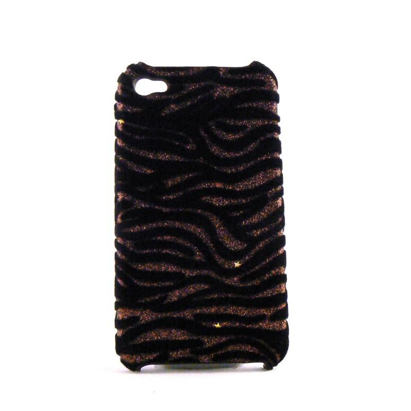 coque zebree noire velours et paillette or pour iphone 4. Black Bedroom Furniture Sets. Home Design Ideas