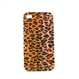 Coque brillante beige tache de leopard pour Iphone 4 + film protection ecran