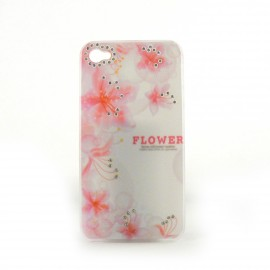 Coque brillante fleurs roses avec strass diamants incrustes pour Iphone 4 + film protection ecran
