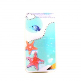 Coque brillante etoile de mer avec strass diamants incrustes pour Iphone 4 + film protection ecran