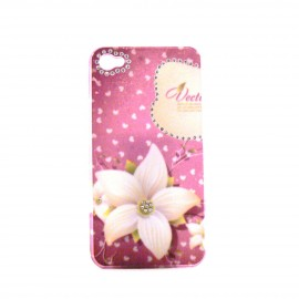 Coque brillante fleurs blanches avec strass diamants incrustes pour Iphone 4 + film protection ecran