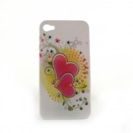 Coque brillante coeurs roses avec strass bleus et jaunes incrustes pour Iphone 4 + film protection ecran