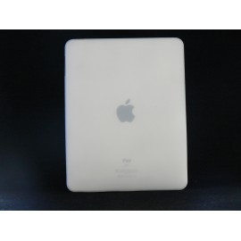 Coque silicone blanc transparent Ipad 1 + film protection ecran offert