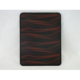 Coque Etui souple en silicone noir a vague orange pour Ipad 1 + film protection ecran offert