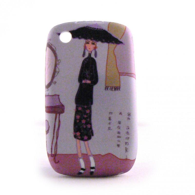 Coque de protection arriere en silicone avec une dame avec for Housse pour blackberry curve