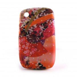 Coque silicone eventails chinois fond orange pour Blackberry 8520 curve+ film protection ecran offert