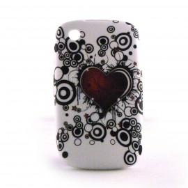 Coque silicone coeur rouge cercles noirs Blackberry 8520 curve+ film protection ecran offert