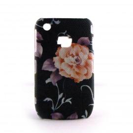 Coque rigide noire et motif fleurs Blackberry 8520 curve+ film protection ecran offert