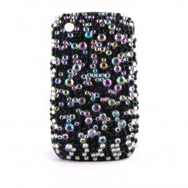 Coque strass diamants et strass noires Blackberry 8520 curve+ film protection ecran offert