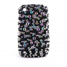 Coque strass diamants et strass noires Blackberry 8520 curve+ film protection ecran offert