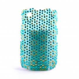 Coque strass bleues et jaunes Blackberry 8520 curve+ film protection ecran offert