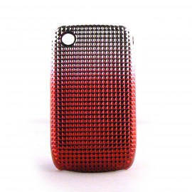 Coque rigide argent degradee rouge Blackberry 8520 curve+ film protection ecran offert