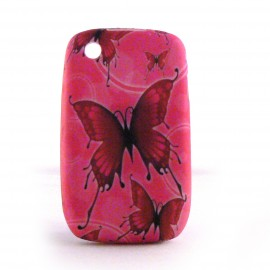 Coque silicone rose papillons rouges Blackberry 8520 curve+ film protection ecran offert