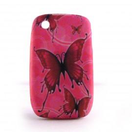 Coque silicone rose papillons rouges Blackberry 8520 curve+ film protection ecran offert