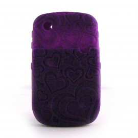 Coque silicone violette porte carte Blackberry 8520 curve+ film protection ecran offert