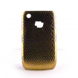 Coque rigide or peau de serpent pour Blackberry 8520 curve+ film protection ecran offert
