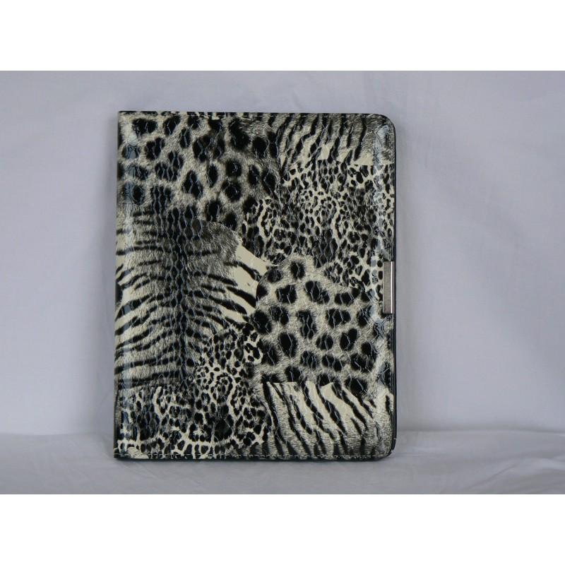 etui pochette motif leopard noir et blanc pour ipad 1 film protection ecran accueil 839. Black Bedroom Furniture Sets. Home Design Ideas