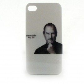 Coque blanche et brillante avec la photo de Steve Jobs pour Iphone 4 + film protection ecran