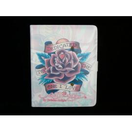 Pochette Etui Ed Hardy avec une rose pour Ipad 1 + film protection ecran offert