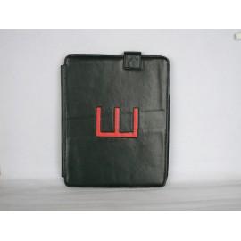 Pochette en simili cuir noir et E rouge pour Ipad 1 + film protection ecran offert