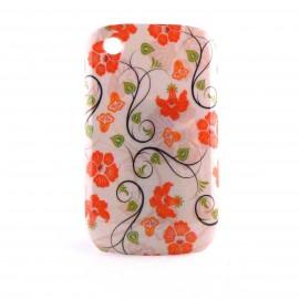 Coque motif fleurs rouges feuilles vertes Blackberry 8520 Curve + film protection ecran offert