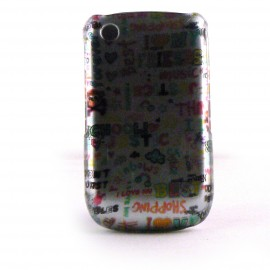 Coque integrale grise brillante multicolore pour Blackberry 8520 Curve+ film protection ecran offert