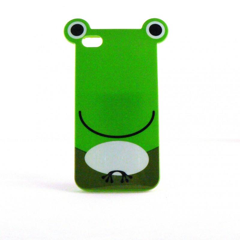 coque brillante rigide verte motif grenouille pour iphone. Black Bedroom Furniture Sets. Home Design Ideas