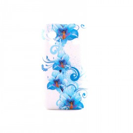 Coque silicone fleurs bleues pour Samsung S5830 Galaxy Ace + film protection ecran offert