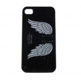 Coque rigide et brillante avec des ailes d'ange pour Iphone 4 + film protection ecran