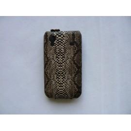 Pochette étui clapet imitation peau de serpent Samsung S5830 Galaxy Ace + film protectin écran