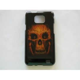 Coque Samsung Galaxy S2 I9100 brillante tête de mort orange + film protection écran