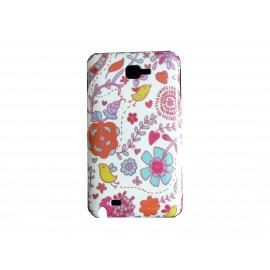 Coque brillante fleurs roses et bleues pour Samsung Galaxy Note I9220/N7000  + film protection écran offert