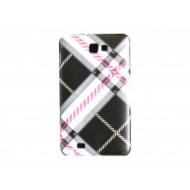 Coque mate à carreaux noirs et roses pour Samsung Galaxy Note I9220/N7000  + film protection écran offert