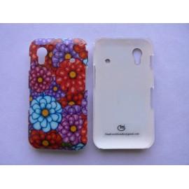 Coque pour Samsung S5830 Galaxy Ace fleurs rouges et bleues + film protection ecran offert