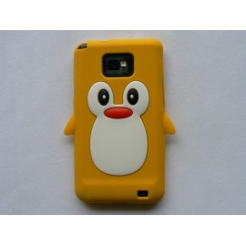 Coque silicone  motif pingouin jaune pour  Samsung I9100 Galaxy S2 + film protection écran offert