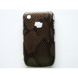 Coque Blackberry 8520 Curve simili-cuir marron peau de serpent + film protection écran offert