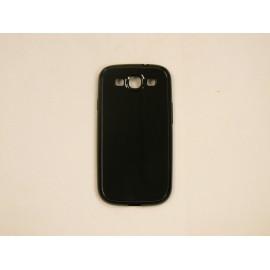 Coque Galaxy S3 I9300 semi-rigide glossy noire + film protection ecran offert
