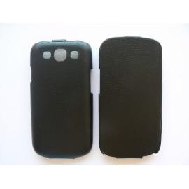 Pochette Etui simili-cuir granité noir pour Samsung I9300 Galaxy S3 + film protection écran