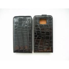 Pochette pour Samsung I9100 Galaxy S2 simili-cuir croco noir + film protection écran